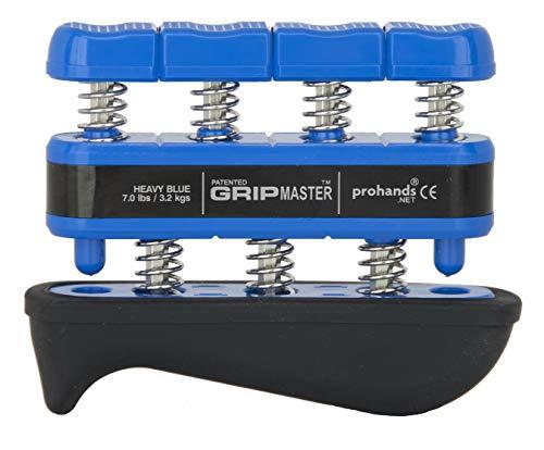 - Prohands Gripmaster Rehab Hand Exerciser, Finger Exerciser (Hand Grip Strengthener), Spring-Loaded, Finger-Piston System, Added Palm Cushion, (7 lb Heavy Tension, Blue-Gripmaster Rehab)