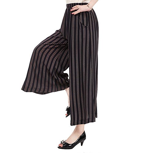 NJunicorn Uncle Womens Comfy Elastic Waist Cotton&Linen Floral Culottes Wide Leg Pants Halloween Costumn Christmas(30 -