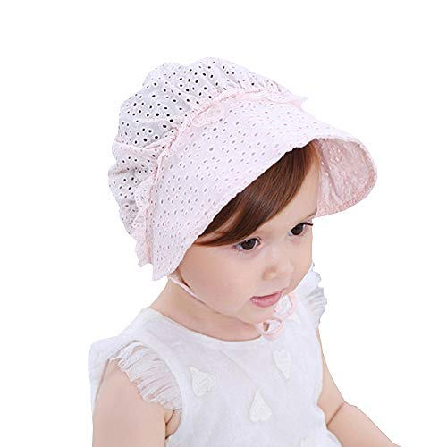 Baby Girl Toddlers Breathable Lacy Bonnet Eyelet Cotton Adjustable Sun Protection Hat (Pink-2)