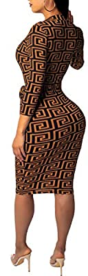 Women Sexy Dress Casual V-Neck Long Sleeve Stretchable Belt Bodycon Pencil Business Suiting Slim Fit Zipper