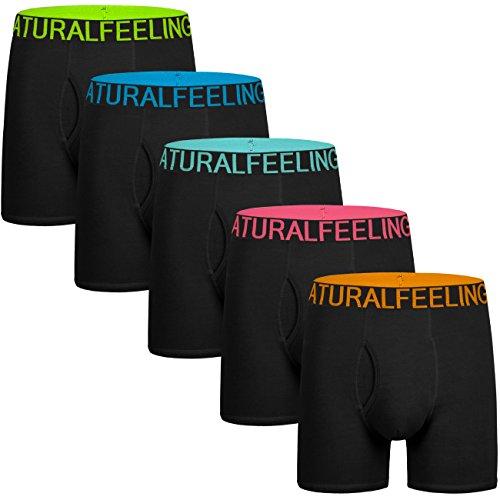 5Mayi Men's Underwear Boxer Briefs Cotton Black Mens Boxer Briefs Underwear Men Pack of 5 Wide Waistband L ()