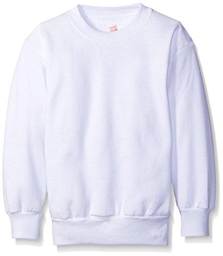 - Hanes Youth ComfortBlend EcoSmart Crewneck Sweatshirt, White, Large