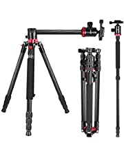 Neewer 2-in-1 Camera Tripod Monopod Carbon Fiber with Rotatable Center Column - Portable Lightweight, Max. 75 inches/191 Centimeters, 360 Degree Ball Head for DSLR Camera Camcorder up to 26.5 pounds