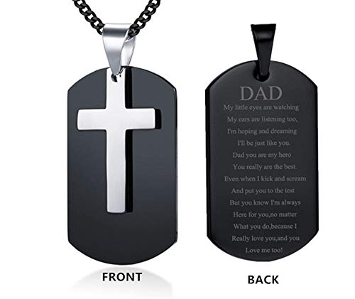 LF Stainless Steel Personalized Name Custom Dad Cross Dog Tag Pendant Necklace for Dad Sentiment Motivational Quote Engraved Fathers Day Christmas Birthday Gift from Daughter Son,Free Engraving