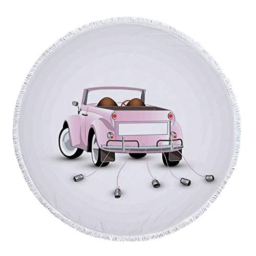 Thick Round Beach Towel Blanket,Cars,Just Married Themed Open Roof Top Car Love for Bride and Groom Picture Wedding Print,Pink White,Multi-Purpose Beach Throw