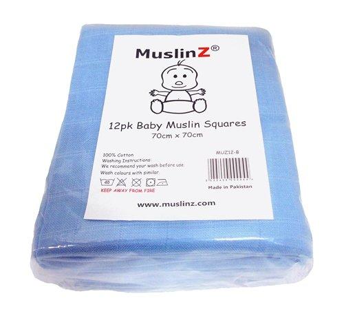 Muslinz Premium High Quality Baby Muslin Squares (Blue, Pack of 12) MUZ12-B