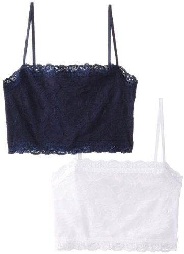 (Pure Style Girlfriends Camiflage 2-Pack Lined Stretch Lace Half Camisole, Navy/White, X-Large)