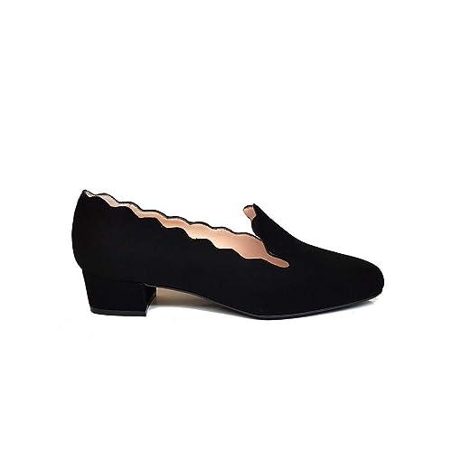 GENNIA OLLETA Negro - Mocasines para Mujer de Piel Ante y con Mini Tacón de 2 cm: Amazon.es: Zapatos y complementos