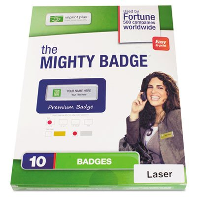 The Mighty Badge Name Badge Refill Kit, Silver, Laser, 1 x 3, 10 per Kit ()