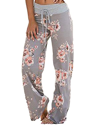 iChunhua Women's Comfy Stretch Floral Print Drawstring Palazzo Wide Leg Lounge Pants(L,Grey)