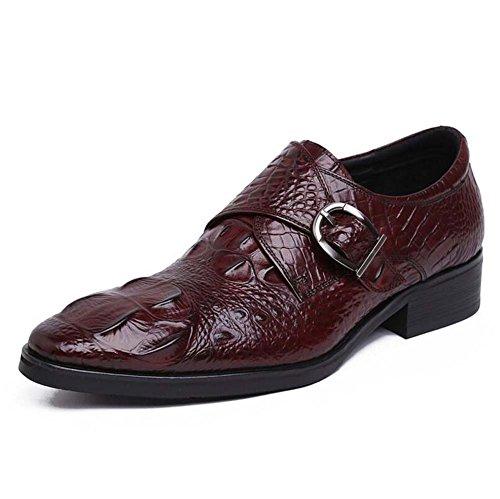 Zapatos Moda Boda Hombres Estampada 41 Marrón Europea los Edición de la Color Relieve Tamaño de de en de Zapatos la de Vestir Zapatos de Hebilla Negocios Workwear OBYEPqnxA
