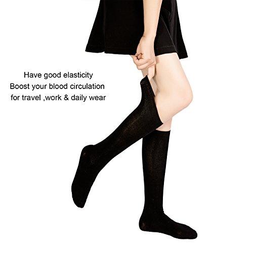 89a7a49e1 Women's Bamboo Casual Knee High Socks Seamless Toe Breathable  Student/Teacher/Travel/Athletic