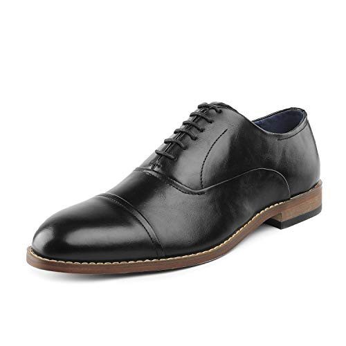 Bruno Marc Men's William_1 Black Lace Up Soft Cap-Toe Oxfords Dress Shoes Size 8 M US