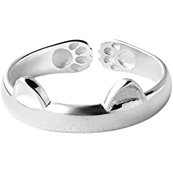Shuohu Women's Cat Ear Claw Open Sterling 925 Silver Ring Finger Animal Jewelry
