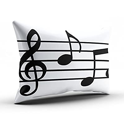 SALLEING Custom Fancy Plush Black and White Music Notes Decorative Pillowcase Pillowslip Throw Pillow Case Cover Zippered One Side Printed 12x16 Inches: Home & Kitchen