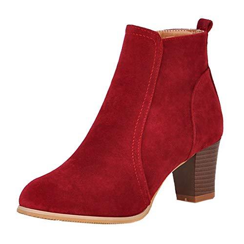 Winter Boots Block Mid Wine Shoes Ladies Heel Ankle Zip Faux Womens Autumn Up Suede Vitalo 7Tw5qxzZ