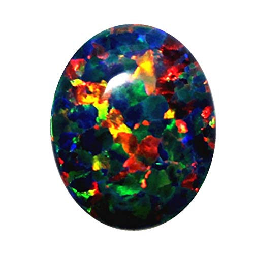ZHUANBAI 8X10mm Black Opal Stone Loose Beads Gemstones Oval Shape Flat Base cabochon Created Gemstone for Jewelry Making DIY Precious Stones