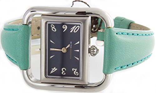 BCBGMAXAZRIA Women's BG6002 Black Dial Green Leather Band Quartz Watch (Bcbgmaxazria Ladies Watch)