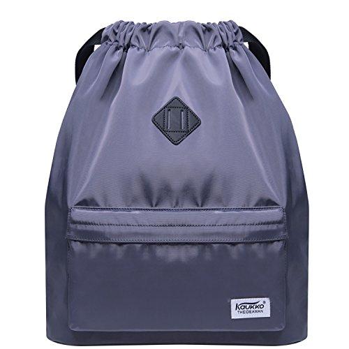 ckpack Gym Yoga Sackpack Shoulder Rucksack for Men and Women (Grey 1031-2) ()