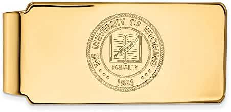 Sterling Silver w/ 14K Yellow Gold-Plated LogoArt Official Licensed Collegiate The University of Wyoming (UW) Money Clip Crest