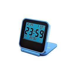 Folding Travel Alarm Clocks With Light-Cute Mini Small Digital Desk Alarm Clock for Bedroom-Blue