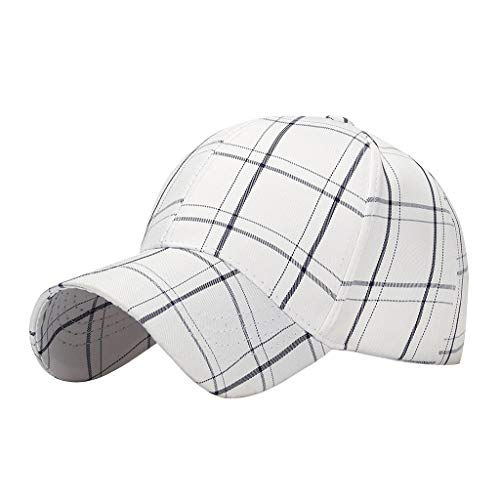Suma-ma Women Men Casual Cotton Baseball Cap Hat,Unisex Adjustable Plaid Printed Sport Hats Travel Dad Caps(White,One Size)