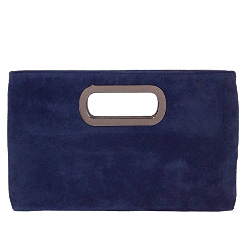 Navy Faux Suede Clutch Bag - 5