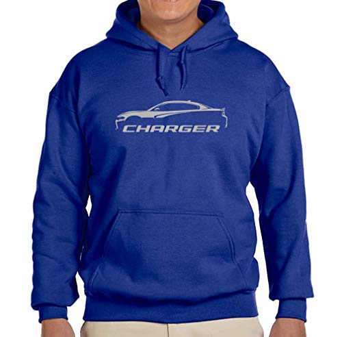 2015-18 Dodge Charger Classic Silver Color Outline Design Hoodie Sweatshirt XL Royal