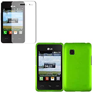 iFase Brand LG 840G Combo Rubber Neon Green Protective Case Faceplate Cover + LCD Screen Protector for LG 840G