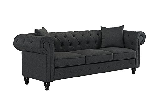 - Classic Linen Fabric Scroll Arm Tufted Button Chesterfield Style Sofa (Dark Grey)