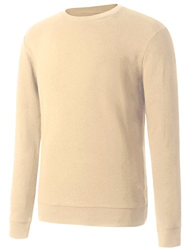 Regna X Men's Mock Neck Merino Solid Knitted Slim Fit Ugly Sweater Beige Ivory L ()