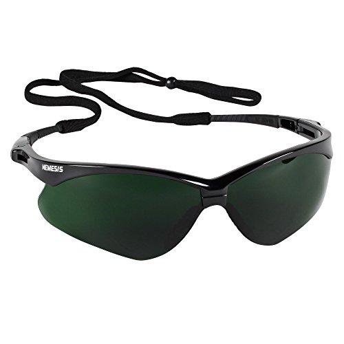 - Jackson Safety V30 Nemesis Safety Glasses (25671), IRUV Shade 5.0 Lenses with Black Frame, 12 Pairs / Case