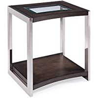 Magnussen T3729-03 Lynx Collection T3729 Lynx Contemporary Brushed Nickel Rectangular End Table