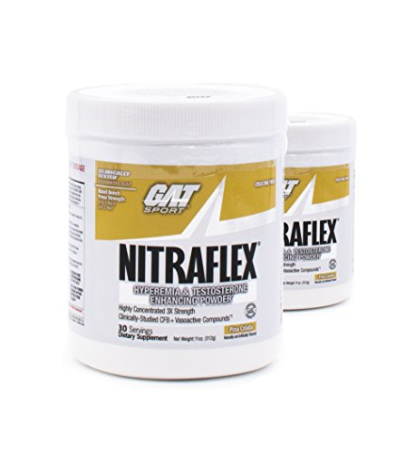 GAT Clinically Tested Nitraflex, Testosterone Enhancing Pre Workout Pack of Two 30 Servings (PinaColada 2 x 30svg)