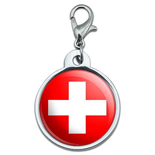 Swiss Tag - Chrome Plated Metal Small Pet ID Dog Cat Tag Country National State Flag S-Z - Switzerland Swiss Flag