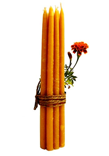 Pure Beeswax Organic Hand Made Candles - Orthodox Church candles from Jerusalem - 12 Inches Tall, 3/8 Inch Diameter ( Dozen Candles ) (Church Beeswax Candles)