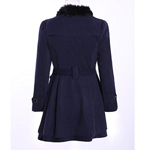 Giacca Slim Lungo Donna Inverno Cappotto Outwear Le Di Blu Caldo Yfznxwvw0