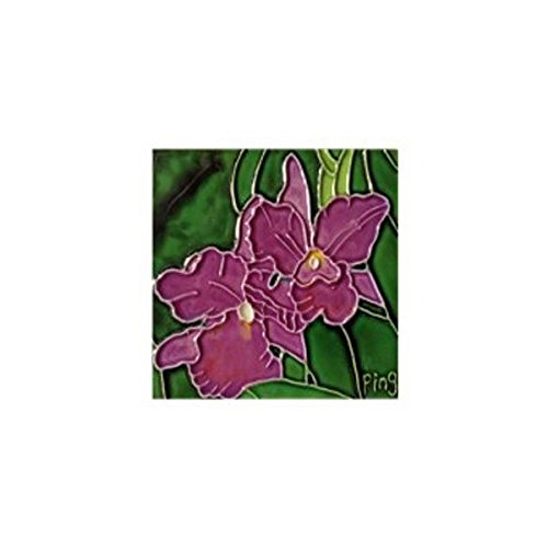 Purple Orchids Decorative Ceramic Wall Art Tile 4x4