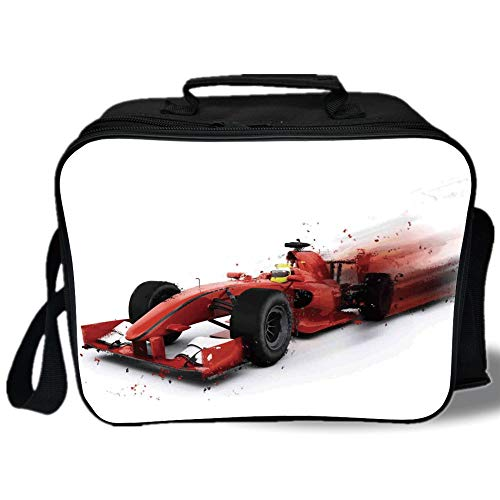 Insulated Lunch Bag,Cars,Generic Formula 1 Racing Car Illustration with Special Effect Turbo Motion Auto Print,Red Black,for Work/School/Picnic, Grey