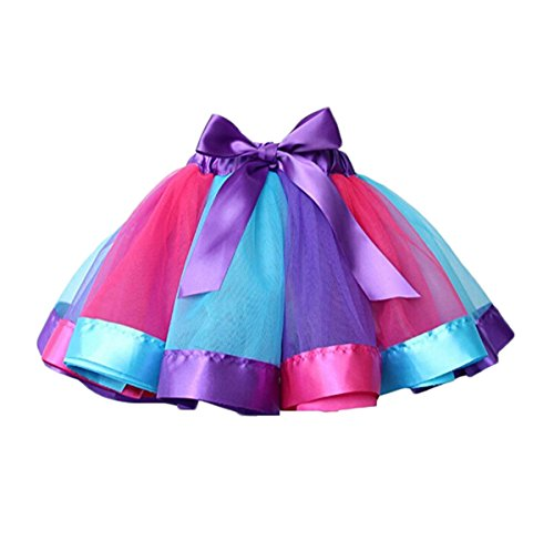 GoodFilling Mother and Kids Girls Rainbow Costume Layered Ballet Tutu Tulle Skirt (6-9 T, Multi (Mother Daughter Tutu Costumes)