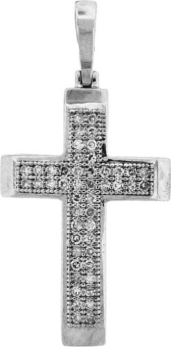 Argent Sterling Diamant 0,15 Dwt Rough JewelryWeb-Pendentif croix