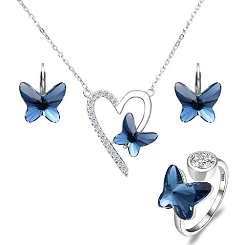 EleQueen 925 Sterling Silver Love Heart Butterfly Denim Blue Made with Swarovski Crystals Pendant Necklace Stud Earrings Ring Set Butterfly Sterling Silver Jewelry Set