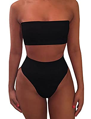 Chimikeey Womens Sexy High Waisted 2 Piece Bikini Set Plain Bandeau Swimsuit
