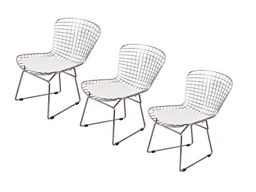 Emorden Furniture Harry Bertoia Wire Side Chair (Set of 3). Chromed Wire Frame with Plastic Feet & PU Leather Cushion. (White/Cream) ()