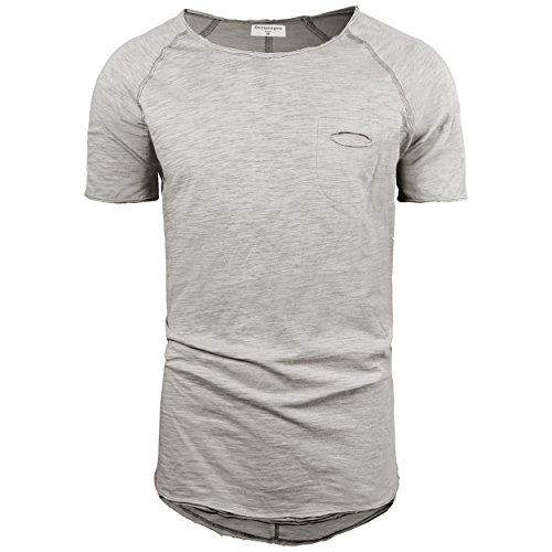 Bamboo Mens Short Sleeve Tee - Derminpro Men's Hipster Short Sleeve Longline Pocket T-Shirt Light Grey X-Large