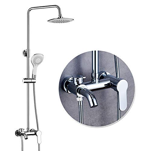 (ROVOGO Bthroom Shower System Set with Brass Mixer Valve Faucet, 8-inch Rain Showerhead + 5 Functions Hand Shower + Faucet Tub Spout + Adjustable Slide Bar, Wall Mount, Chrome)