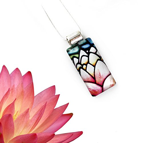 Pink Lotus Flower Rectangle Glass Pendant