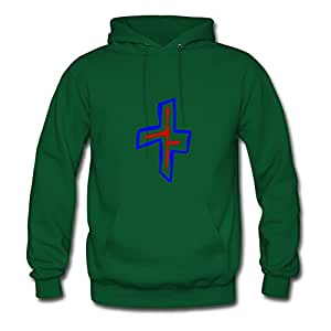 Danielglover Women Abstract Cross Print O-neck Funny Green Hoody In X-large