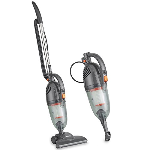 VonHaus 600W Gray 2 in 1 Corded Upright Lightweight Stick Vacuum and Handheld Vacuum Cleaner with HEPA Filtration Includes Crevice Tool and Brush Accessories