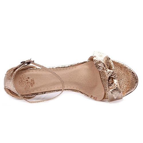 SJJH Sandals with Thin Heel and Bowtie Large Size Women Dressy Shoes with Bling Materail Chic and Elegant Gold jB0VeT